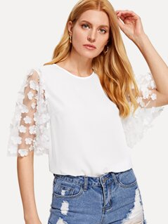 Flower Applique Mesh Bell Sleeve Top