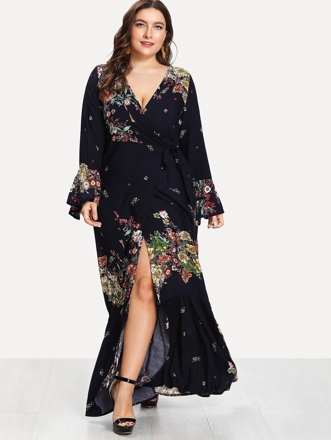 Deep V Neckline Fluted Sleeve Floral Print Dress v notch pearl leaf chain detail fluted sleeve dress