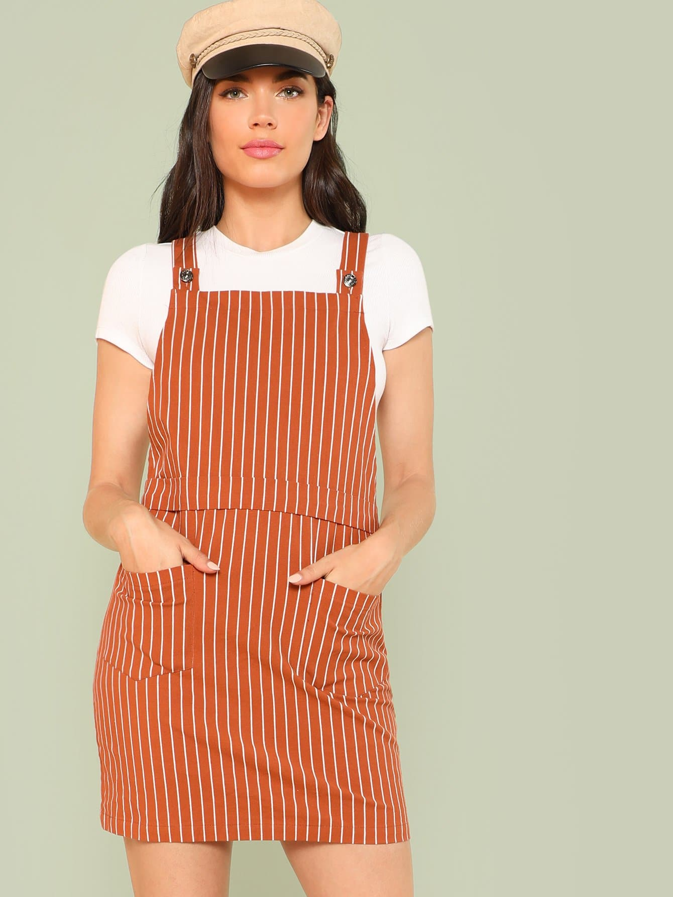 Pocket Patched Vertical Striped Overall Dress overall yumi overall