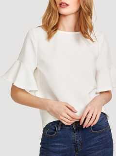 Flounce Sleeve Textured Top