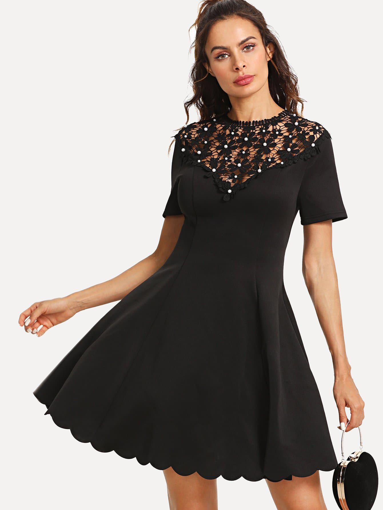 Guipure Lace Yoke Scalloped Hem Dress guipure lace bodice bardot dress