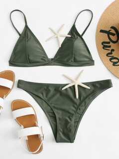Solid Triangle Bikini Set