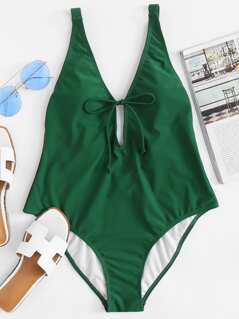 Knot Front Plunging Swimsuit