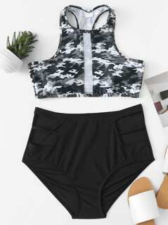 Mesh Panel Camouflage Top With High Waist Bikini Set