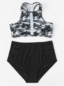 Mesh Panel Camouflage Racer Back Bikini Set