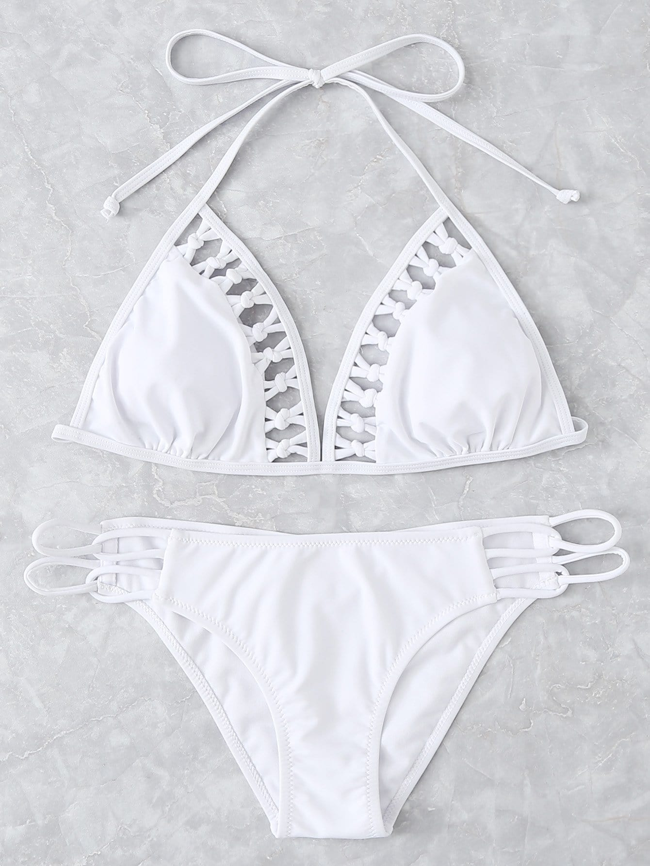 Knot Detail Halter Bikini Set tassel detail halter bikini set