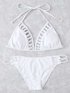 Knot Detail Halter Bikini Set