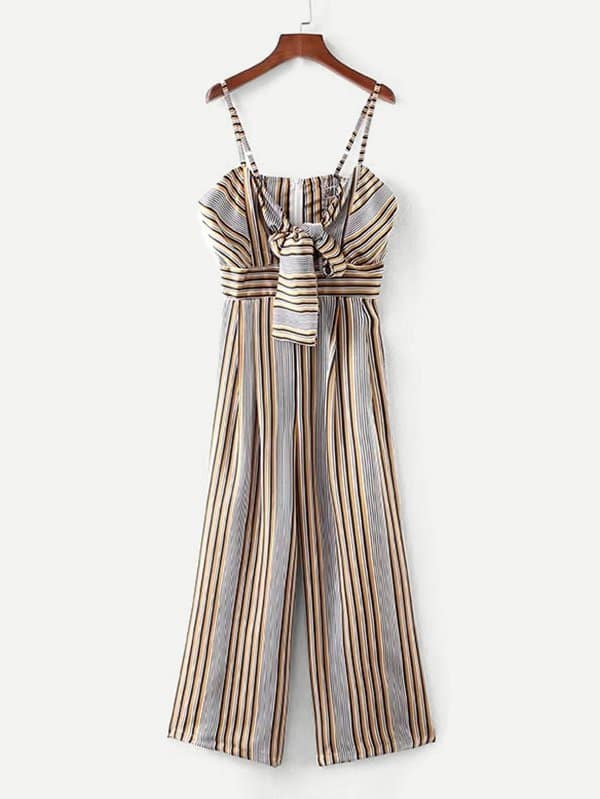 Multi-Stripe Tie Front Wide Leg Jumpsuit кофеварка russell hobbs 21991 56 21991 56