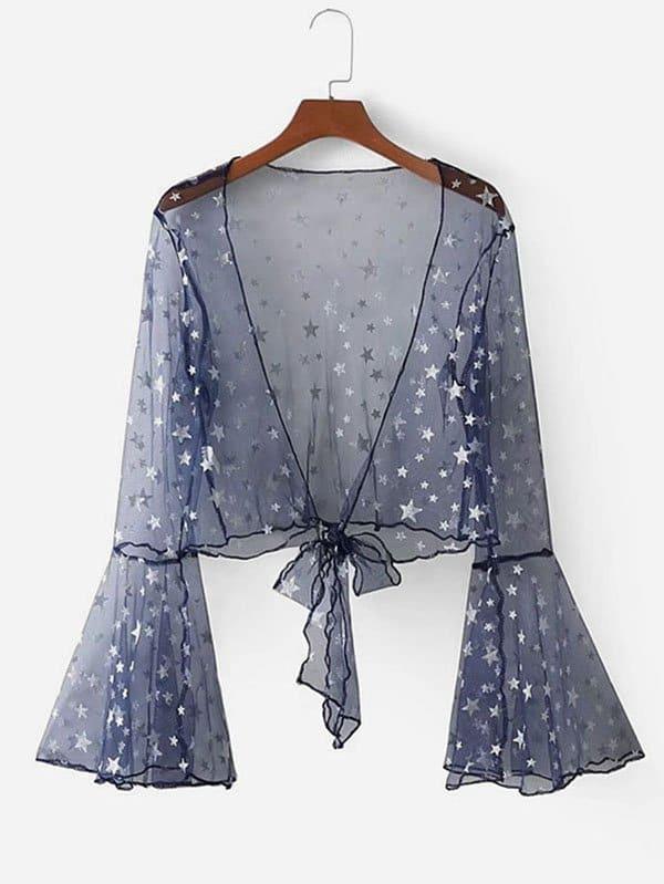 Купить Короткое прозрачное кимоно со звездочками, null, SheIn