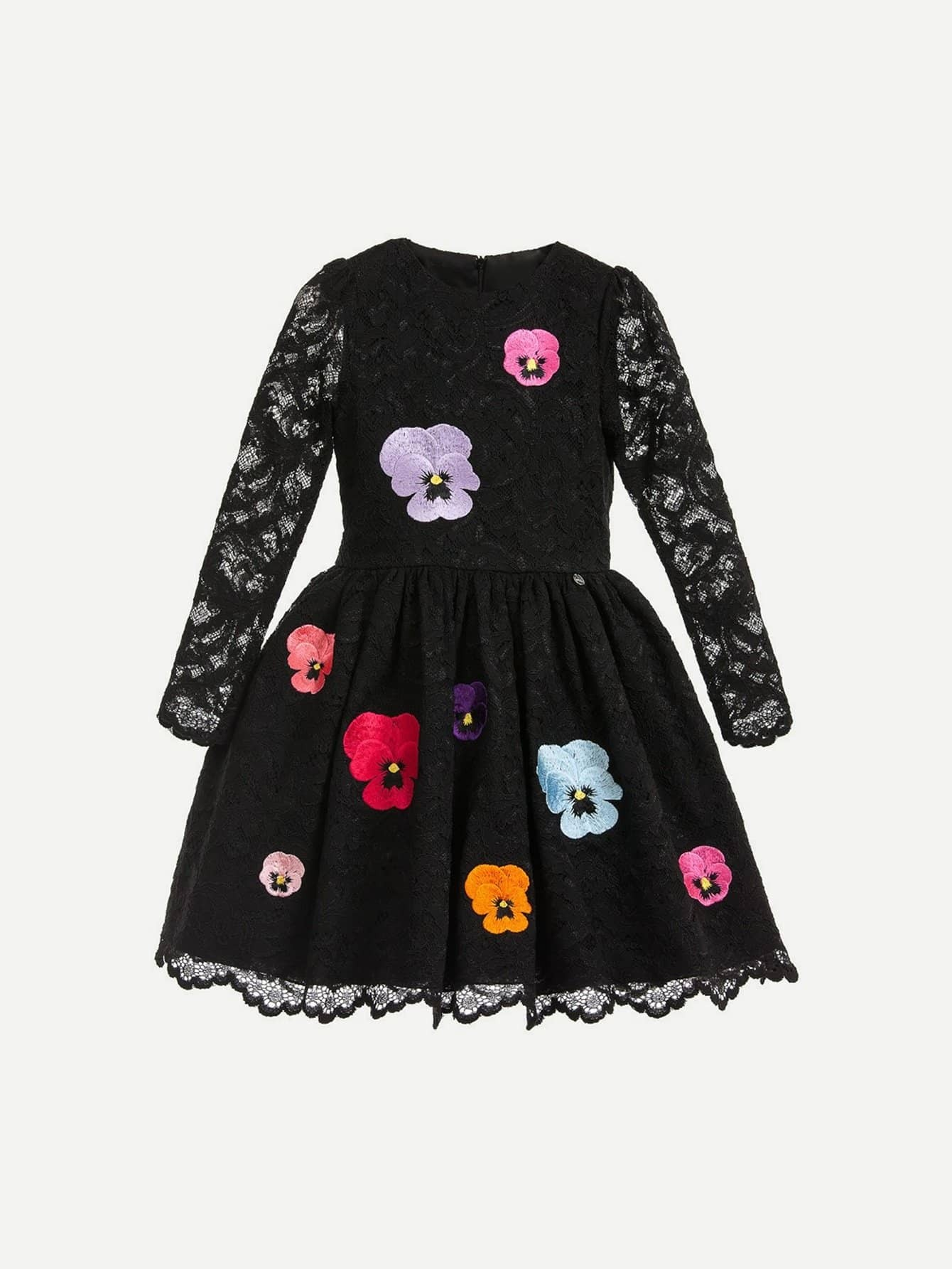 Девушки Вышивка Кружева Наложения Платье