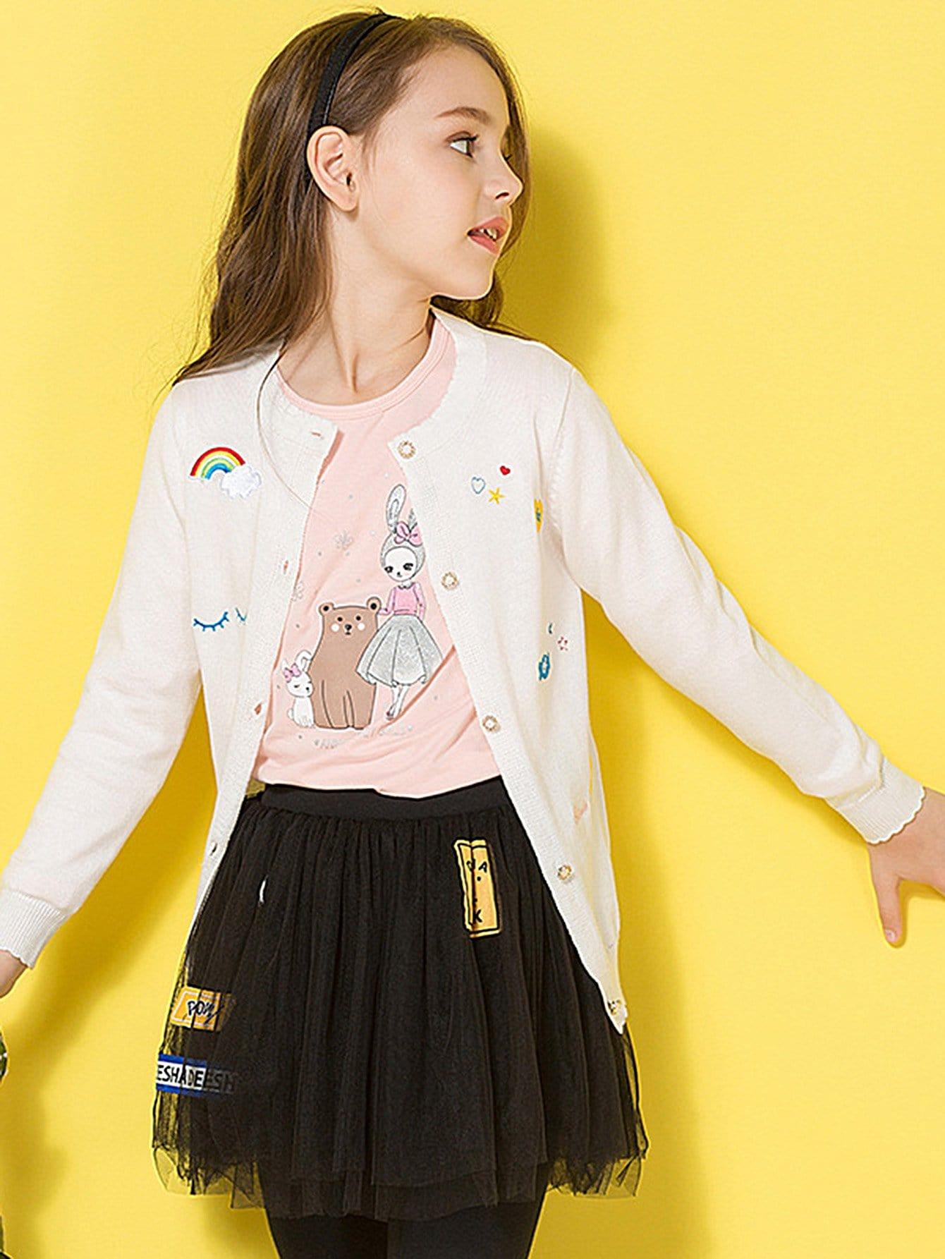 Girls Cartoon Embroidered Sweater