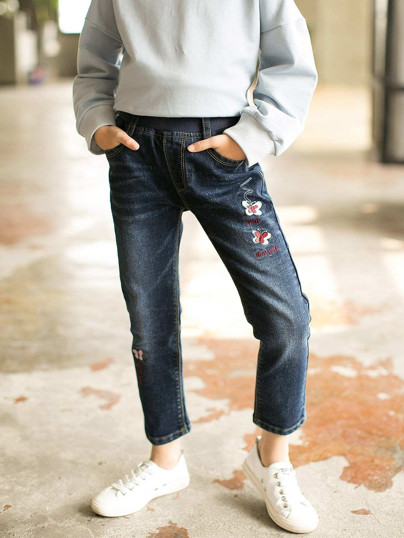 Kids Letter Embroidered Butterfly Jeans emoji embroidered jeans