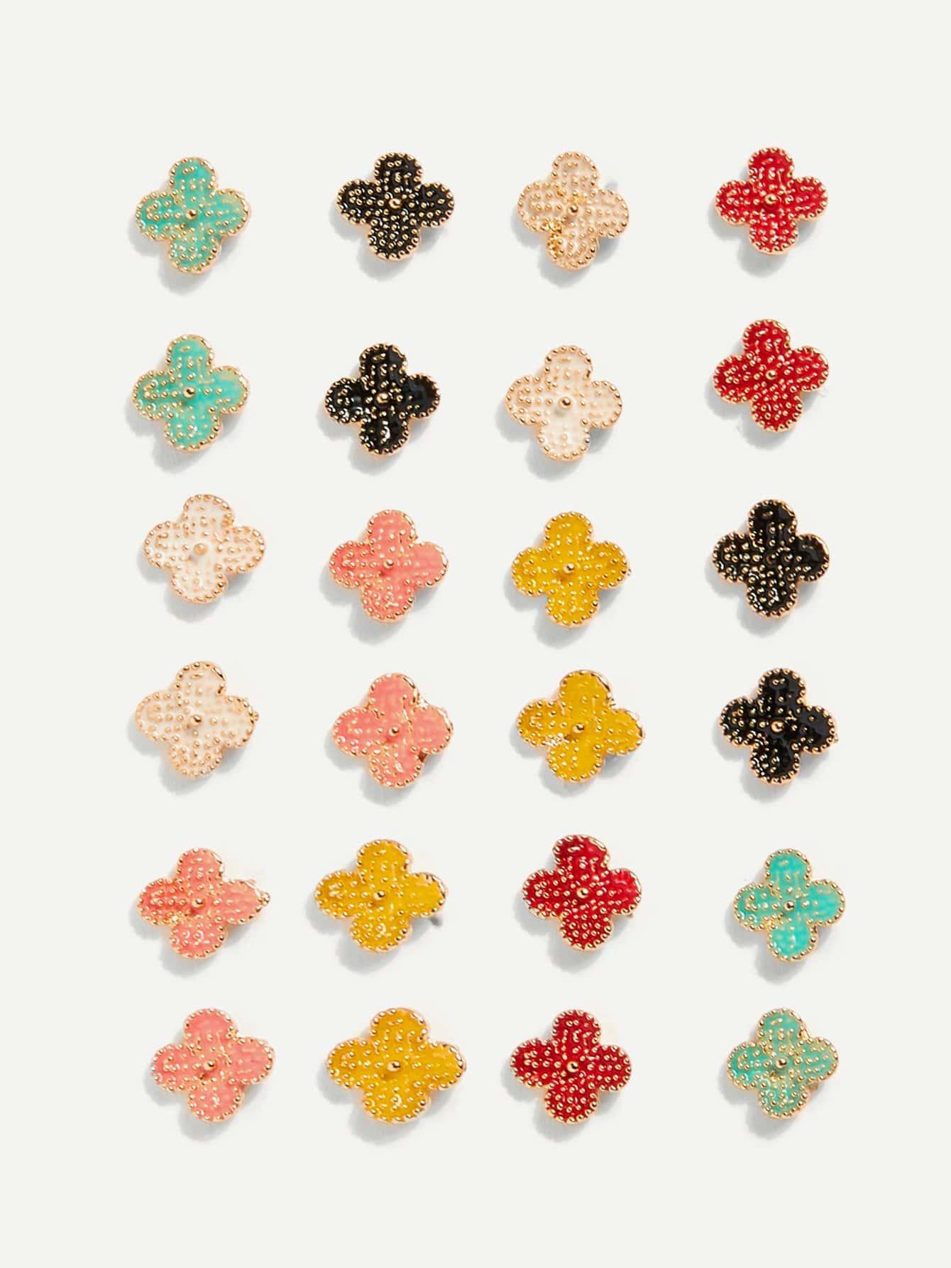 Серьги гвоздики крест 12 пар