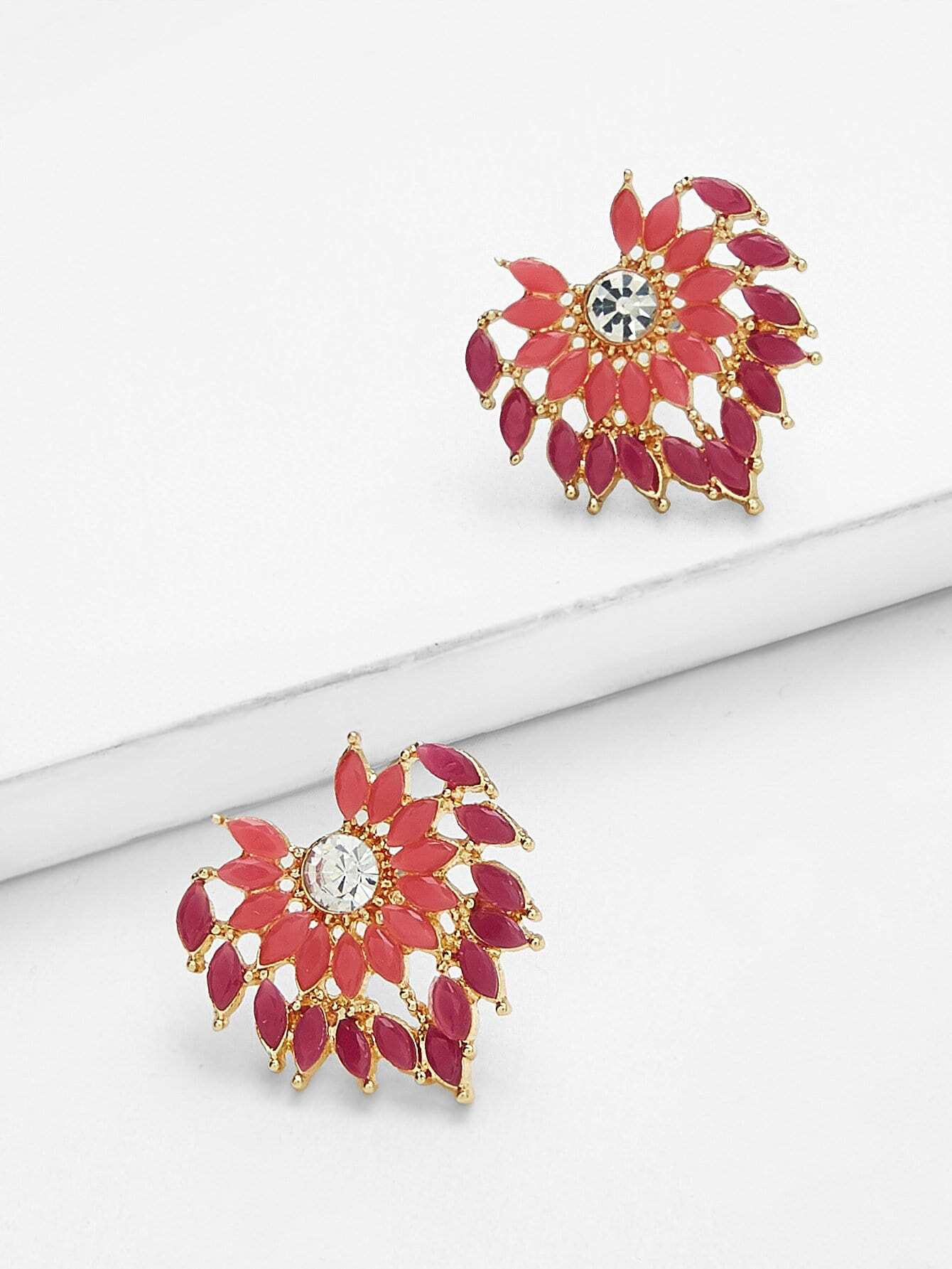 Gemstone Stud Statement Earrings