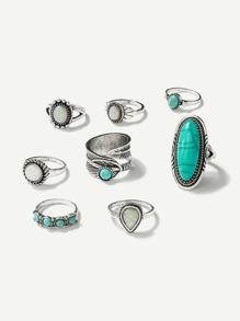 Turquoise Ring Set 8pcs