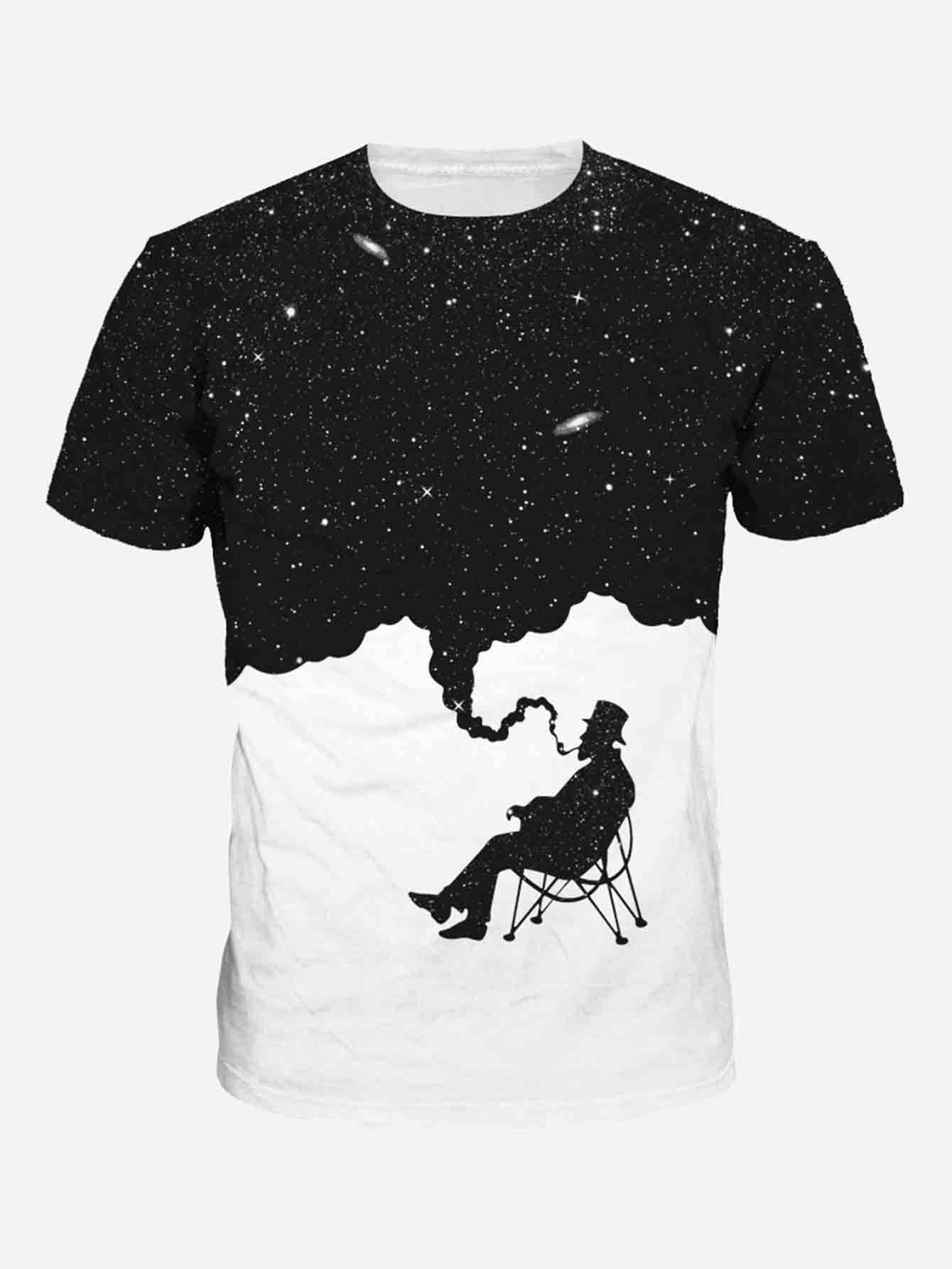 Men Galaxy Print Tee men cloud print tee