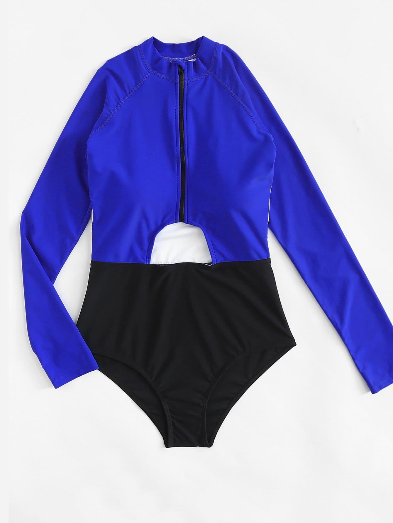 Cut Out Long Sleeve Swimsuit fishnet sheer long sleeve swimsuit