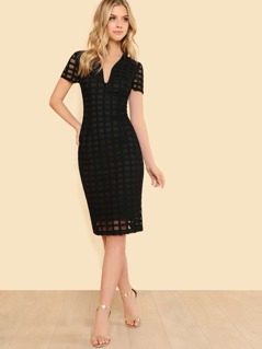 Plunging Neck Grid Lace Overlay Pencil Dress