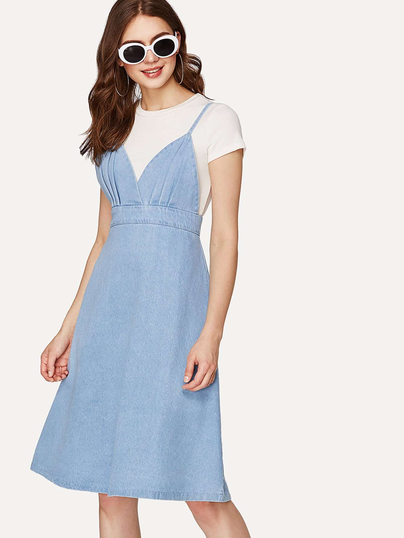 Zip Back Slip Denim Dress zip back fit and flared plaid dress