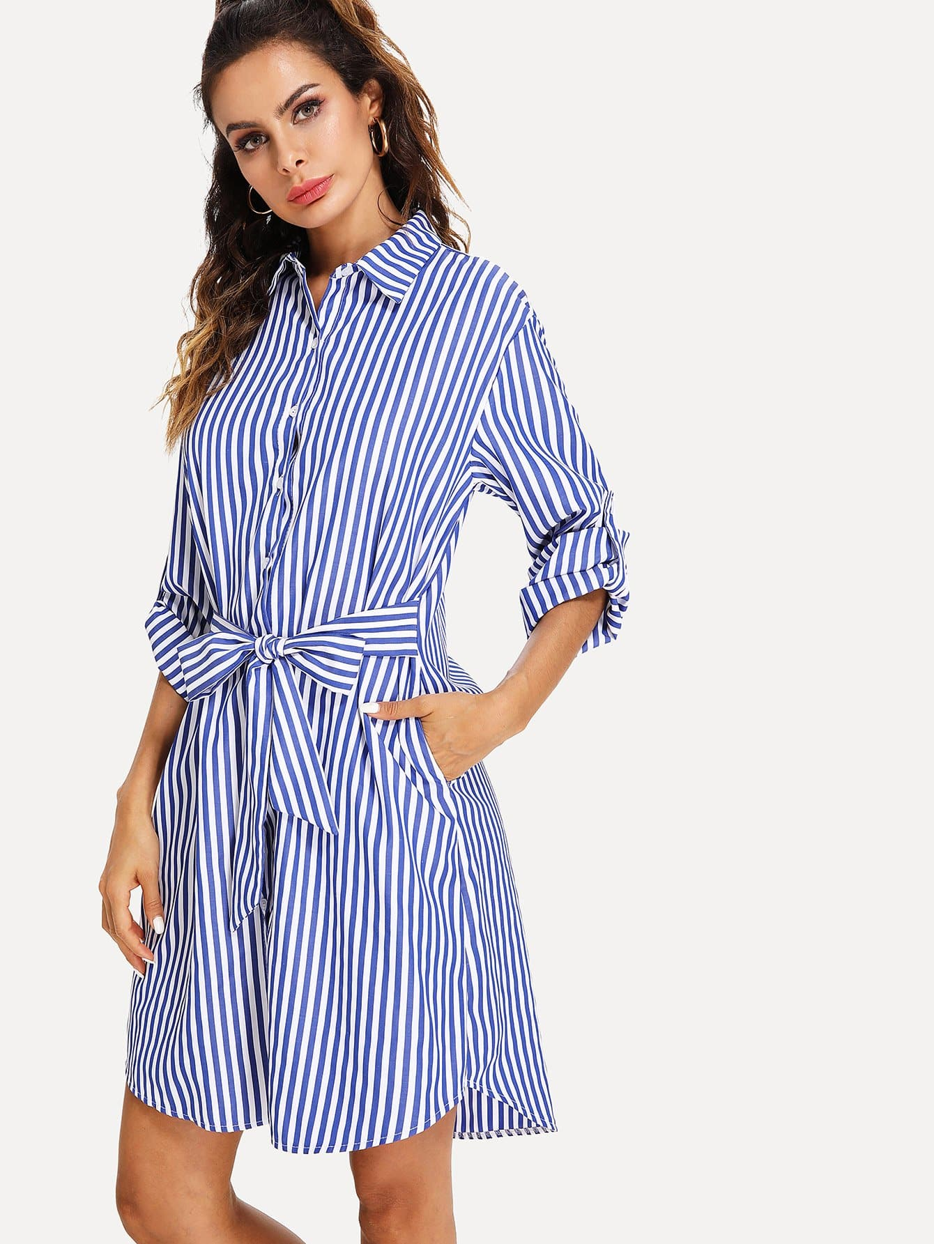 Roll Up Sleeve Tie Waist Stripe Shirt Dress stripe print roll up sleeve crop tee