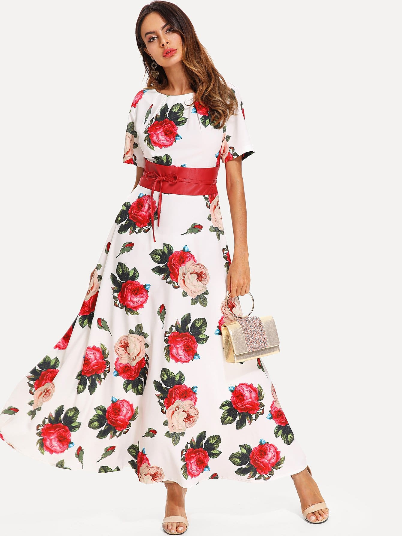 Floral Print Bow Detail Longline Dress bow detail longline dress