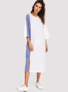 Drop Shoulder Stripe Contrast Split Dress