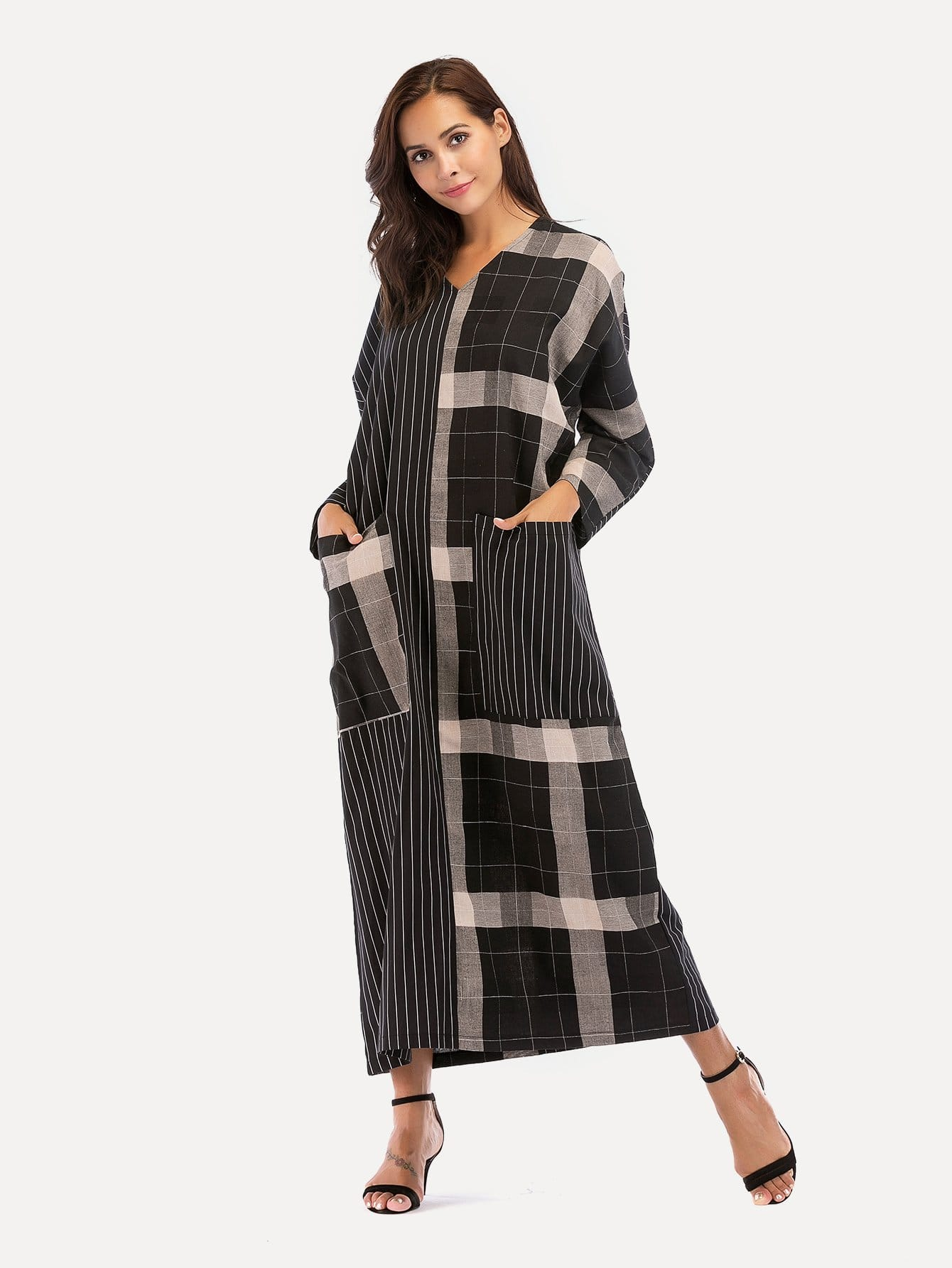 Dual Pocket Stripe Contrast Plaid Longline Dress contrast plaid tee