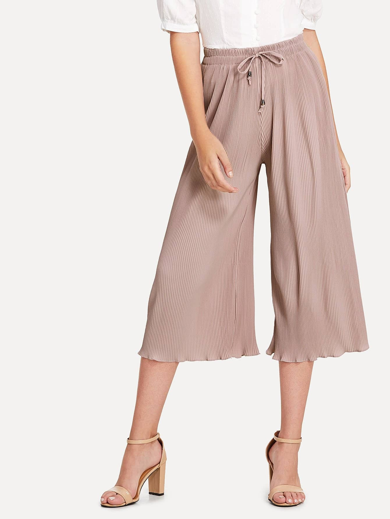 Drawstring Waist Wide Leg Pants floral wide leg drawstring pants