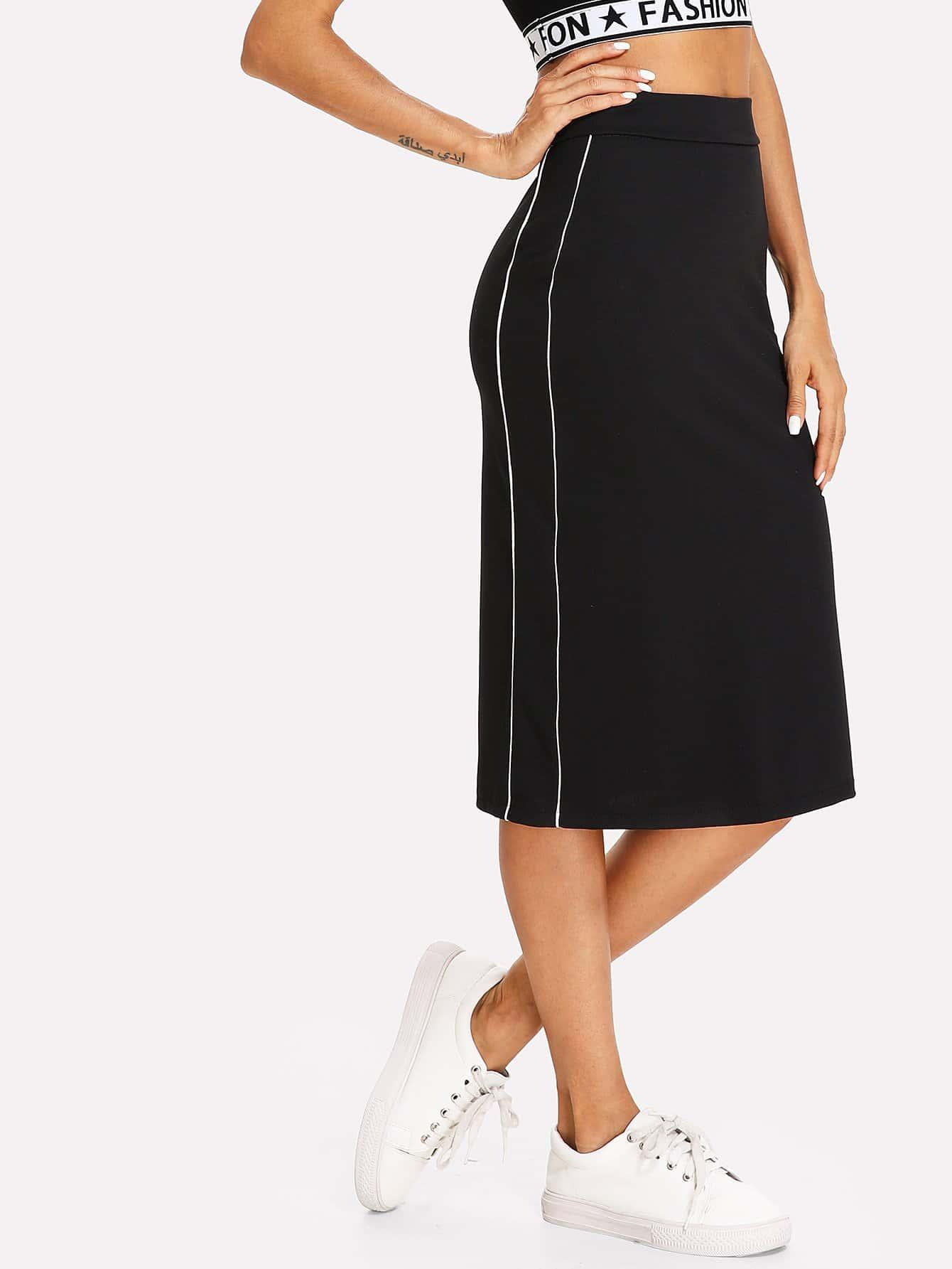 Split Back Stripe Side Skirt split back plaid skirt