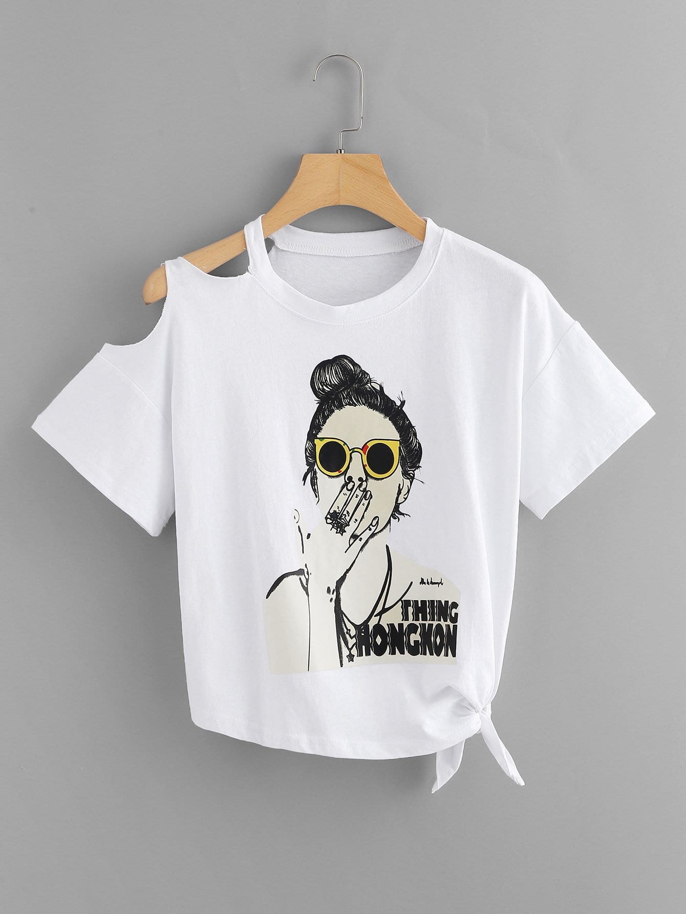 Girl Print Open Shoulder Tie Side Tee open shoulder figure print longline tee