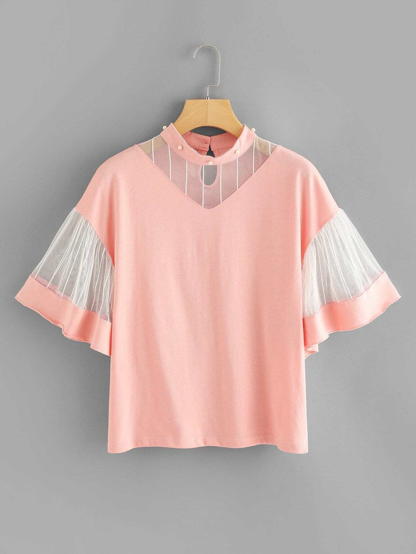 Mesh Contrast Flounce Sleeve Top mesh contrast lace top