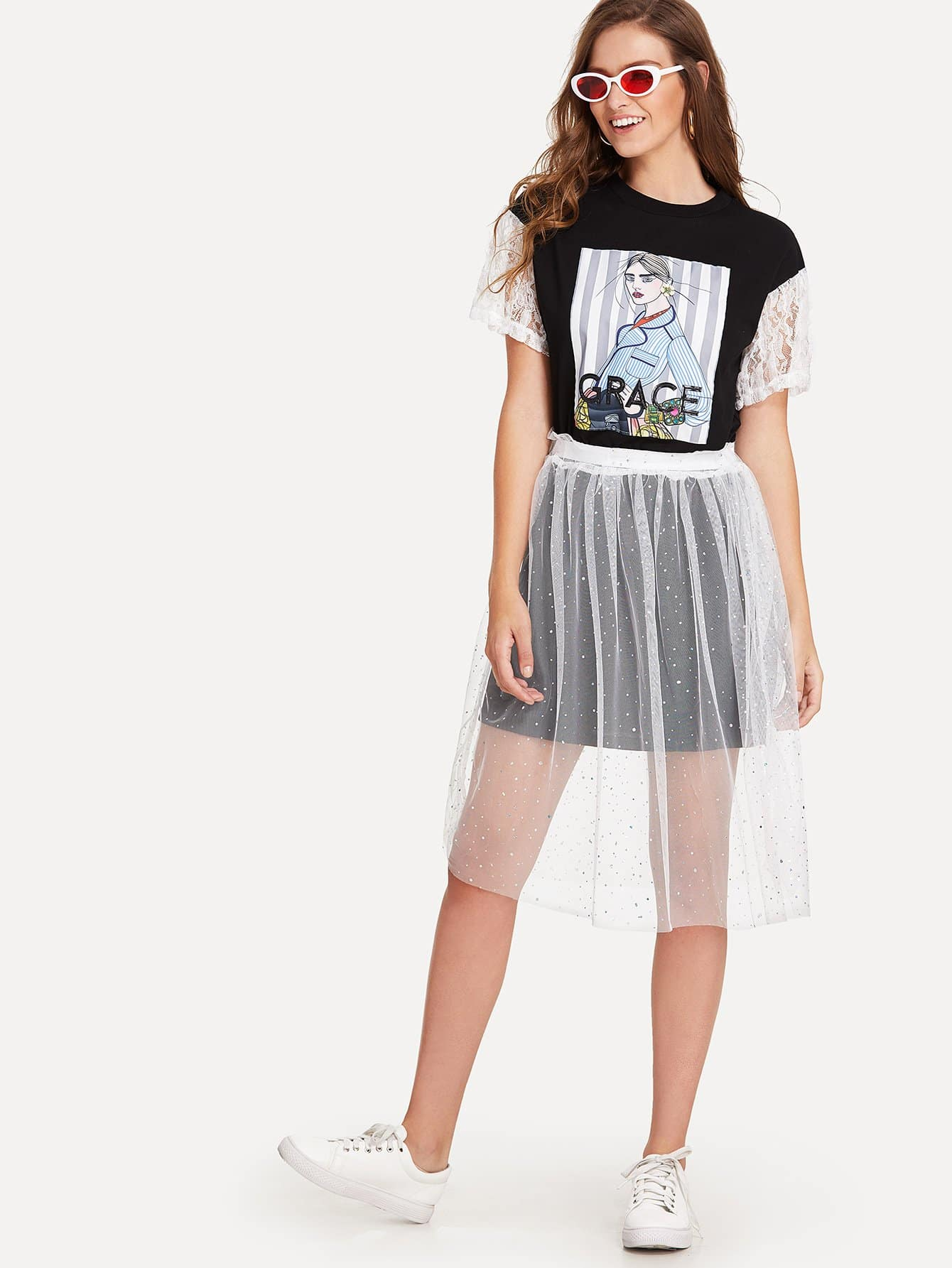 все цены на Lace Contrast Sleeve Longline Tee With Mesh Skirt