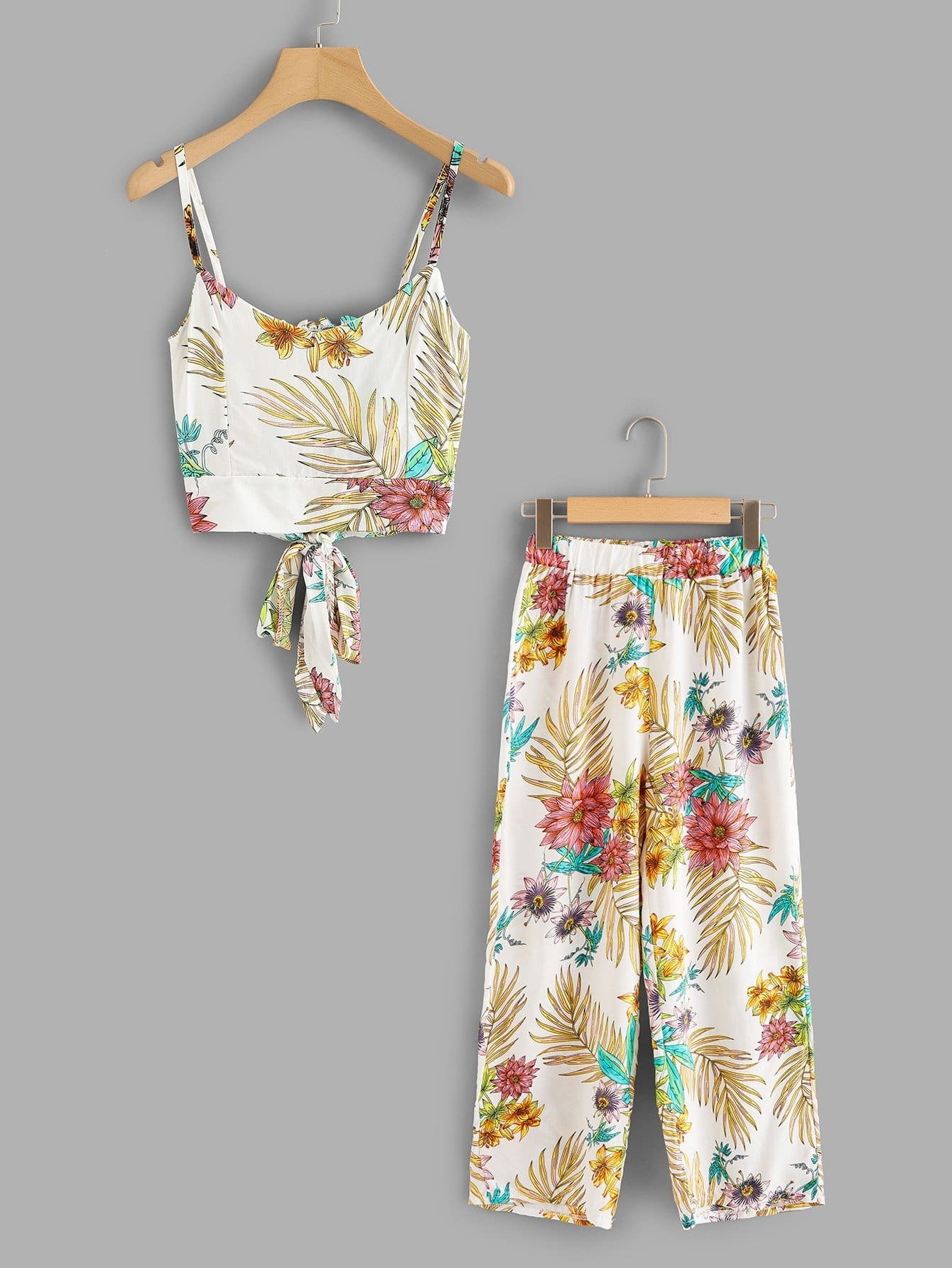 Self Tie Cami Top & Floral Print Wide Leg Pants criss cross back self tie slub cami top