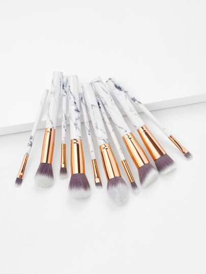 Marble Handle Makeup Brush 10pcs With Bag