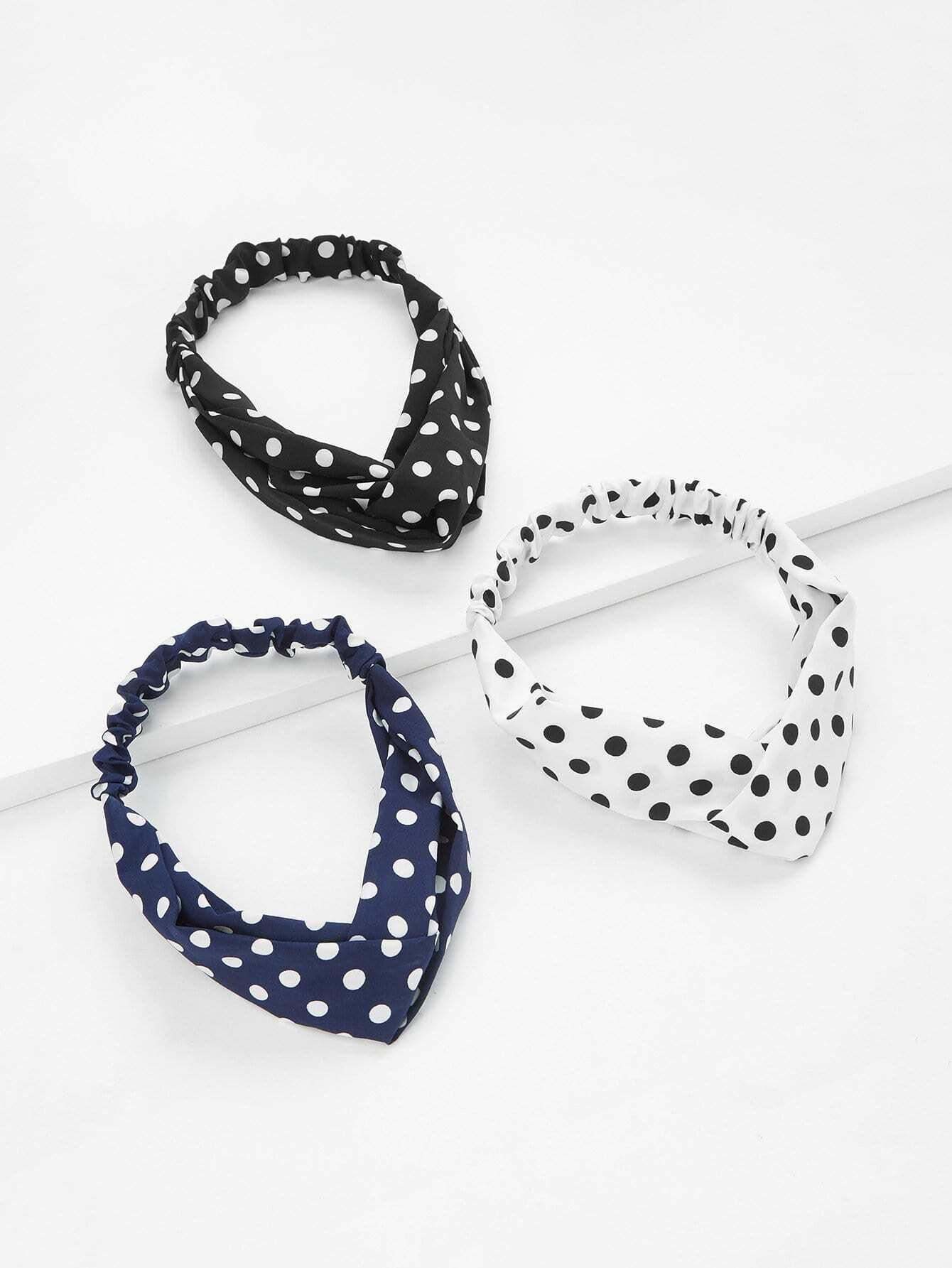 Polka Dot Twist Headband 3pcs plain headband 3pcs