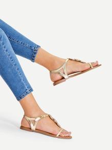 Metallic Toe Post Sandals