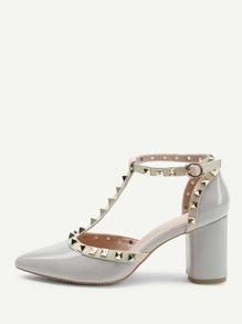 Rivet Detail T-strap Chunky Heels