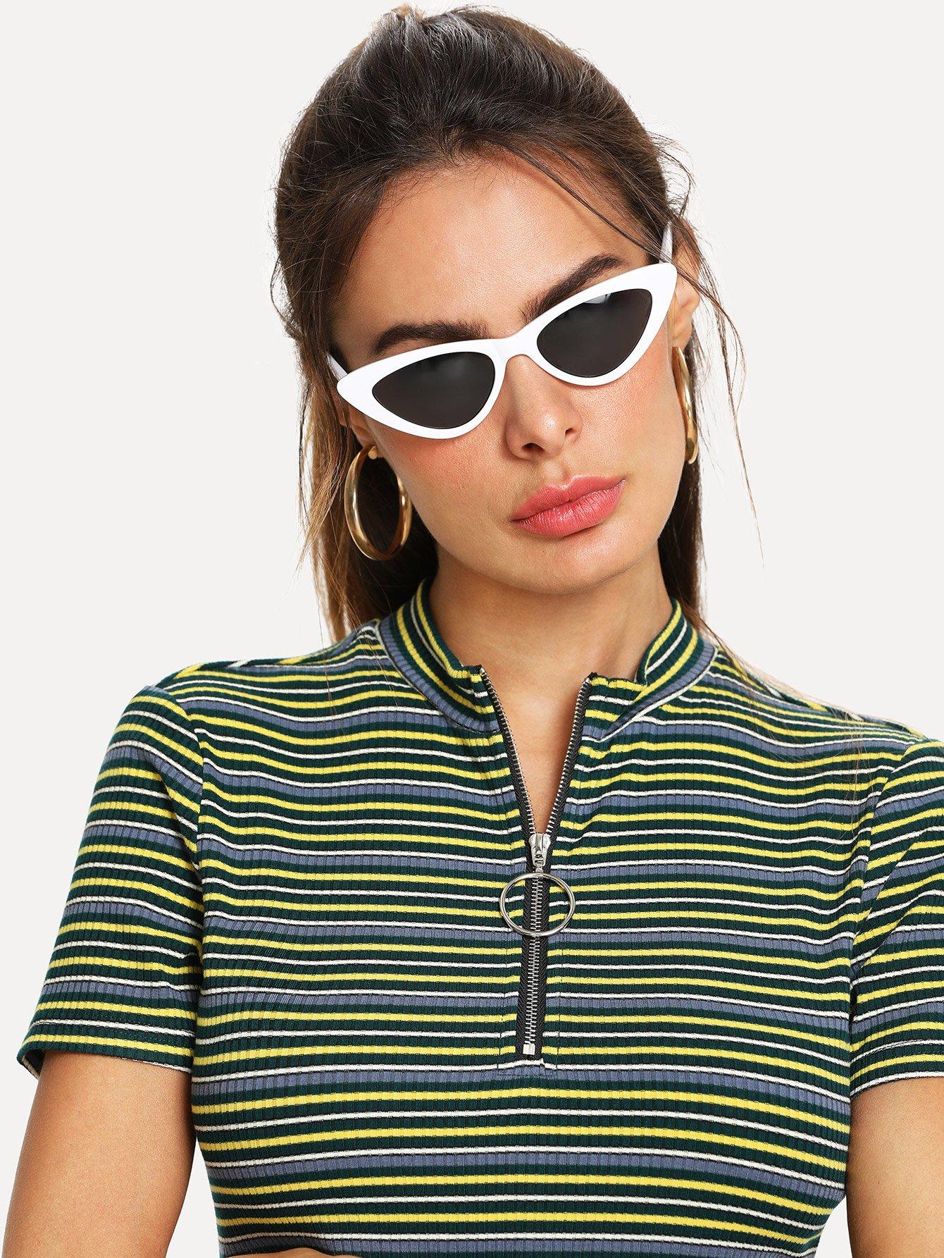 цена на Contrast Frame Cat Eye Sunglasses