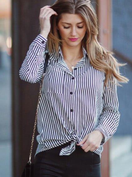 Купить Чёрная прямая полосатая блуза с воротником, null, SheIn
