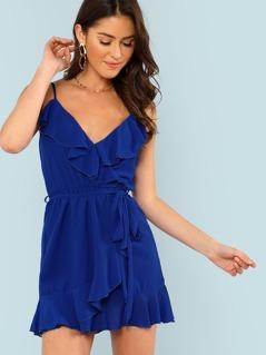Ruffled Surplice Sheer Wrap Dress ROYAL BLUE