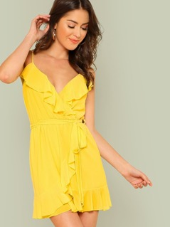 Surplice Neck Overlap Ruffle Trim Cami Dress