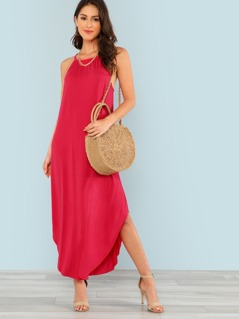 Keyhole Back Halter Curved Hem Dress