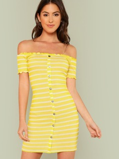 Off Shoulder Ribbed Knit Striped Dress IVORY YELLOW
