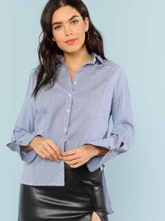 Contrast Stripe Dip Collared Button Up Blouse BLUE