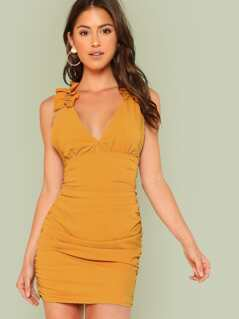 Plunge Neck Ruched Dress with Ruffles MUSTARD
