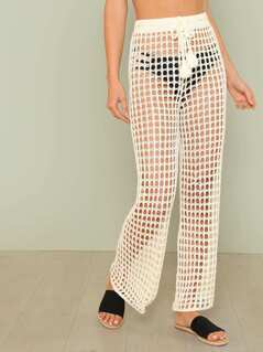 Crochet Pants with Drawstring Waist