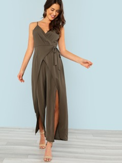 Surplice Wrap Open Leg Jumpsuit