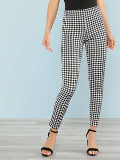 Gingham Print Skinny Leggings