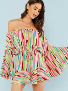 Flare Sleeve Striped Bardot Romper with Keyhole Front