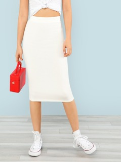Ribbed Knit Midi Skirt WHITE